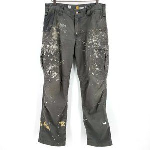Carhartt Distressed Painted Cargo Carpenter Pants